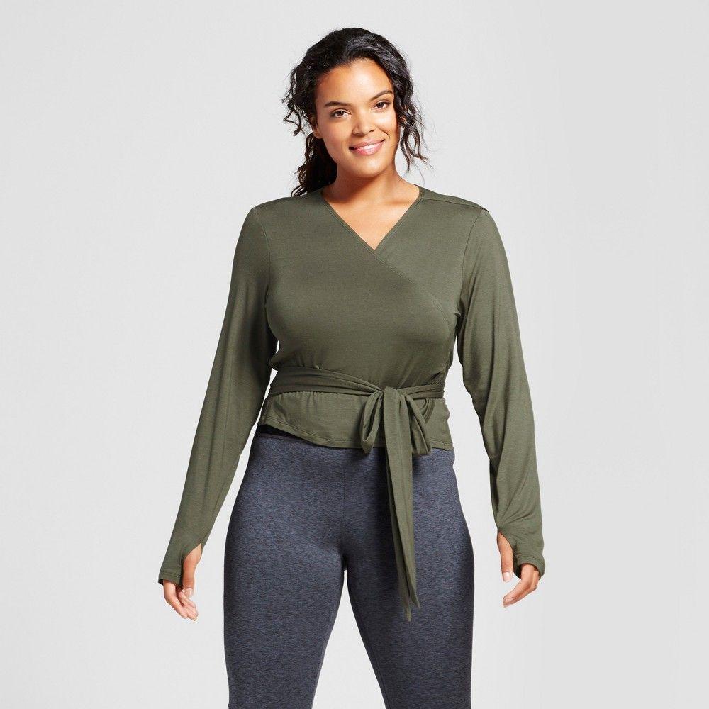 Plus size womenus plus long sleeve wrap tshirt joylab olive