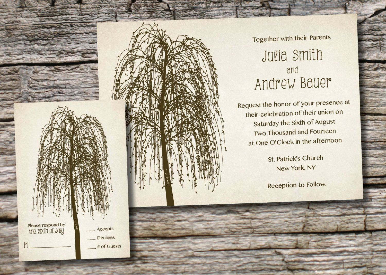 WILLOW TREE INITIALS Rustic Wedding Invitation/Response Card - 100 ...