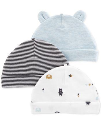 6052cad93 Carter's Carter Baby Boys 3-Pack Printed Cotton Hats in 2019 ...