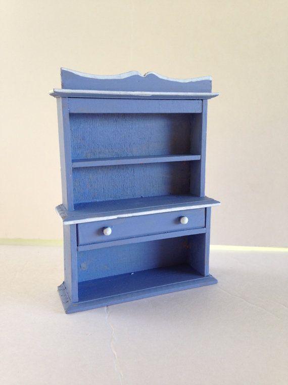 Sky Blue Miniature Bookshelf Tiny Dollhouse By EightBoardsFarm 800