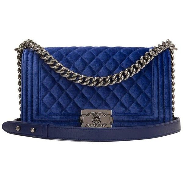 Preowned Chanel Blue Quilted Velvet Medium Boy Shoulder Bag ($4,825) ❤ liked on Polyvore featuring bags, handbags, shoulder bags, blue, quilted shoulder bag, blue purse, shoulder strap bags, pocket purse and chanel purse