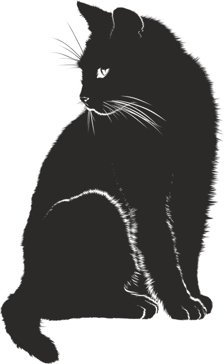 Black silhouette of cat Royalty Free Vector Image in 2020