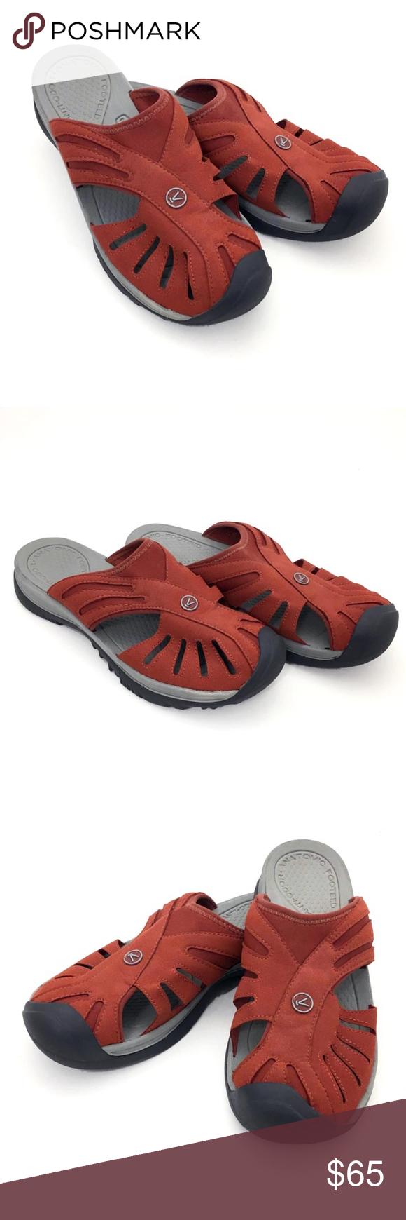 a5b77ee9b1b Keen | Rose Slide Sandal Slip On Burnt Henna Rust Keen ~ Rose Slide Sandal.  Shoe is a slip-on mule type sandal in Burnt Henna (Rust) and Neutral Gray.