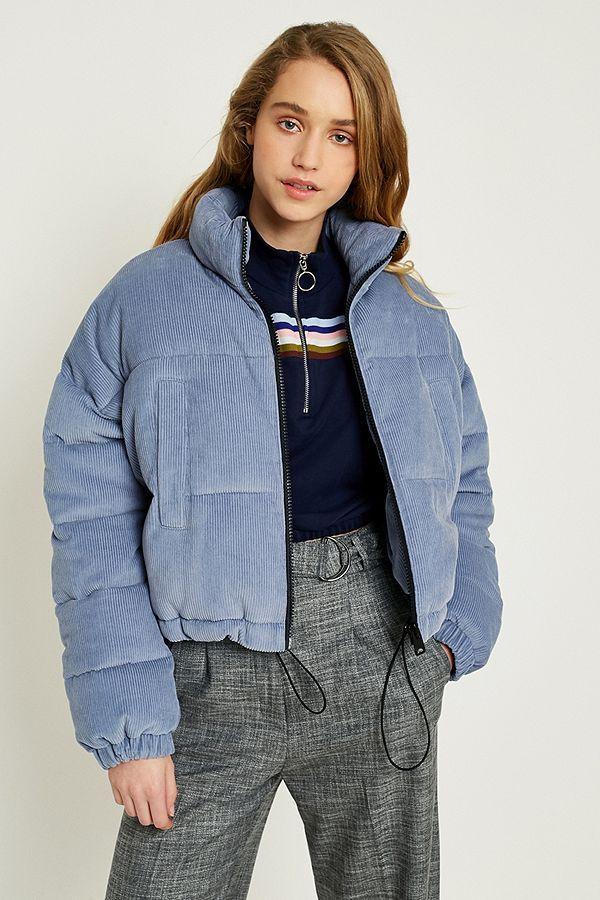 d0de753d4a61a UO Blue Corduroy Cropped Puffer Jacket   Beauté et Mode   Doudoune ...