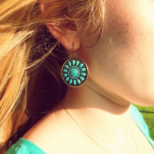 Turquoise earrings from Claire's