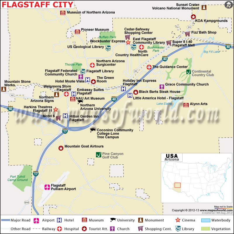 Map Of Northern Arizona Cities.Map Showing The Airport Hotels Roads Rails Network Tourist