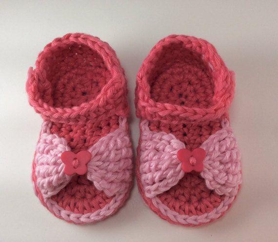 Crochet Newborn Sandals, Baby Girl
