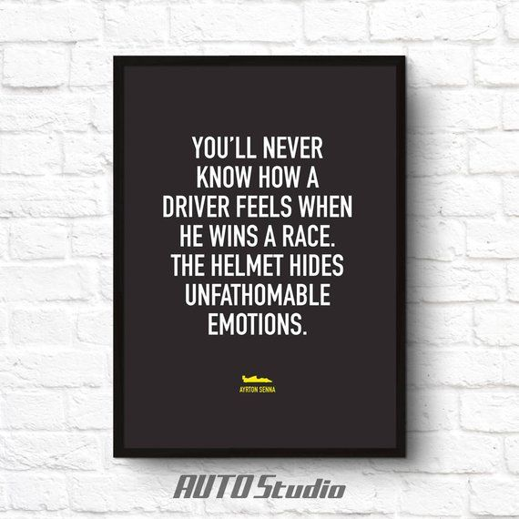 Race Car Quotes Gorgeous Ayrton Senna Formula 1 Sports Quote Printable Wall Poster Art Home .