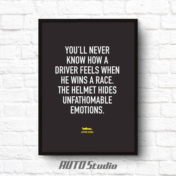 Race Car Quotes Ayrton Senna Formula 1 Sports Quote Printable Wall Poster Art Home .