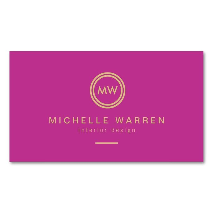Modern circle monogram initials on fuchsia pink business card modern circle monogram initials on fuchsia pink business card accmission Gallery