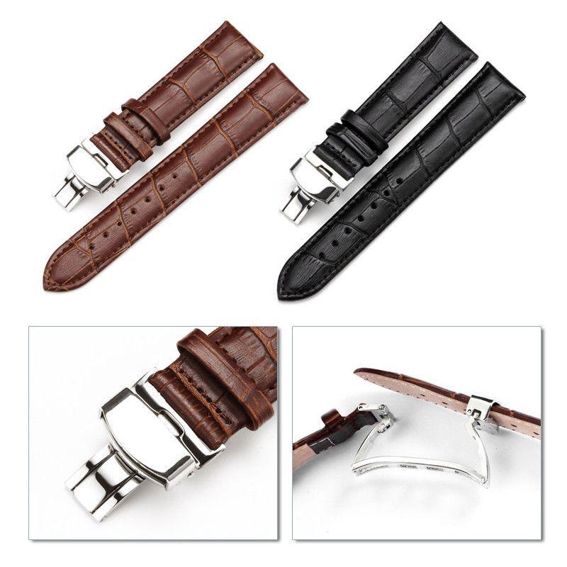 Wholesale 16-24mm Watch Band Strap Butterfly Pattern Genuine Leather Deployant Buckle Bracelet Brown Black Watchbands