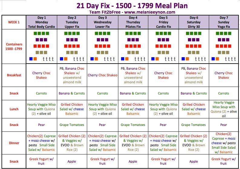 21 day fix 1500-1799 calorie meal plan without shakeology - Google