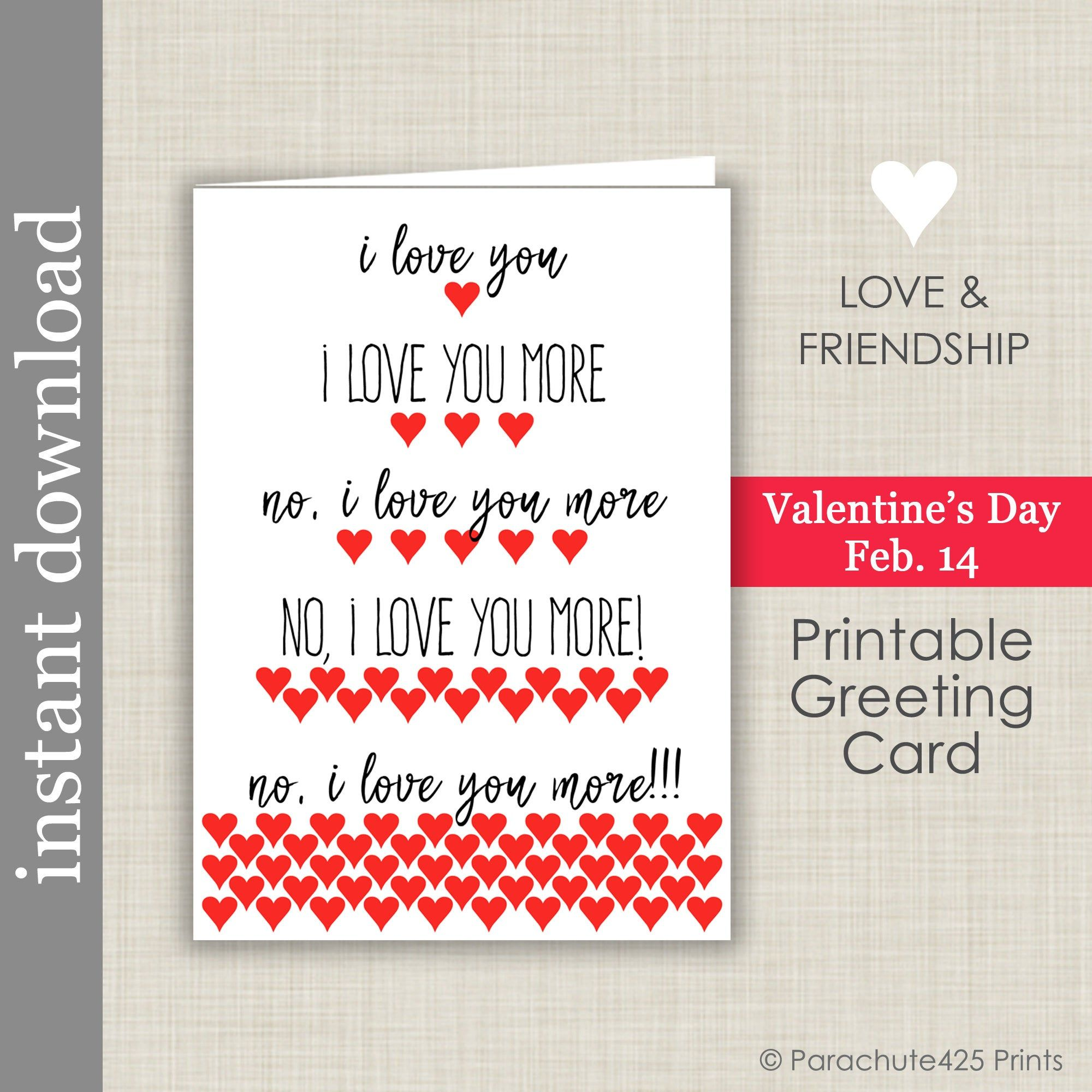 I Love You More Printable Anniversary Card Romantic Valentine Card Sweetest Day Card Printable Anniversary Cards Romantic Valentine Card Anniversary Cards