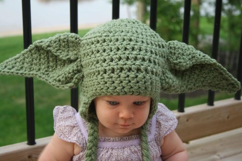 Yoda Inspired Hat Crochet Pattern Newborn Toddler Child ...