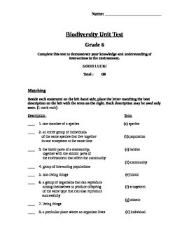 Diversity of Living Things - Grade 6 Science Test