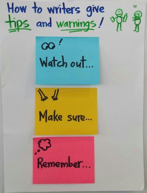 Tips & Warnings | K-2 Informational Writing Charts