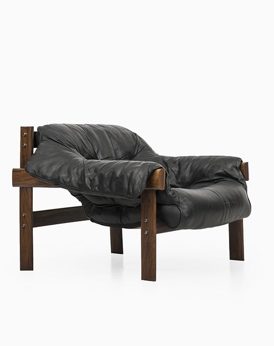 Percival Lafer; Rosewood and Leather Lounge Chair for Lafer MP, 1960s. Via Studio Schalling.