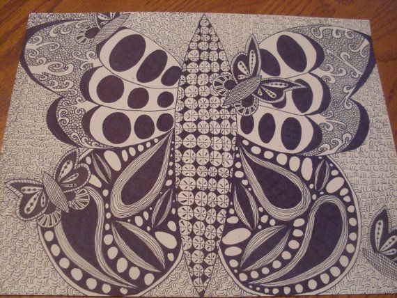 Butterfly Zentangle PRINT Framed by LibbyLouCreations on Etsy, $10.00