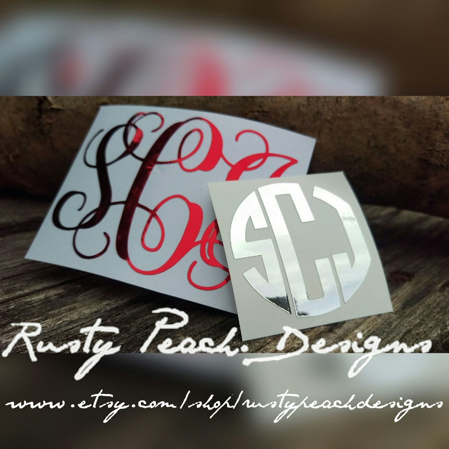 Chrome Monogram Decal, Monogram Sticker, Circle Font, Vine Font, Fancy Font, Your Choice of Color, Gold Car Decal, Yeti Monogram For Her. by RustyPeachDesigns on Etsy