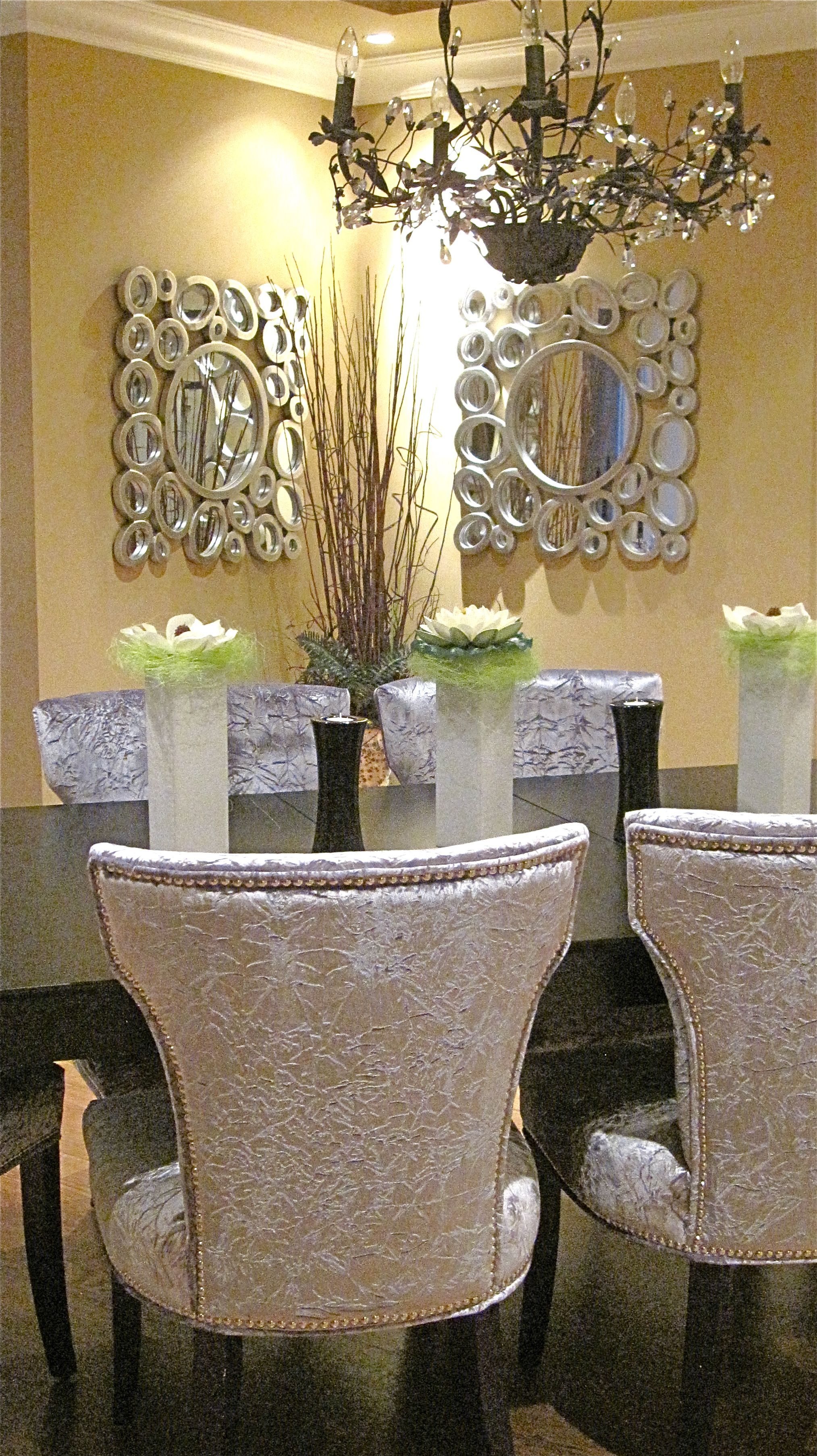 Quite Like These Dining Room Features Silver Crushed Velvet Chairs Espresso Table Large Bubble Style Mirrors