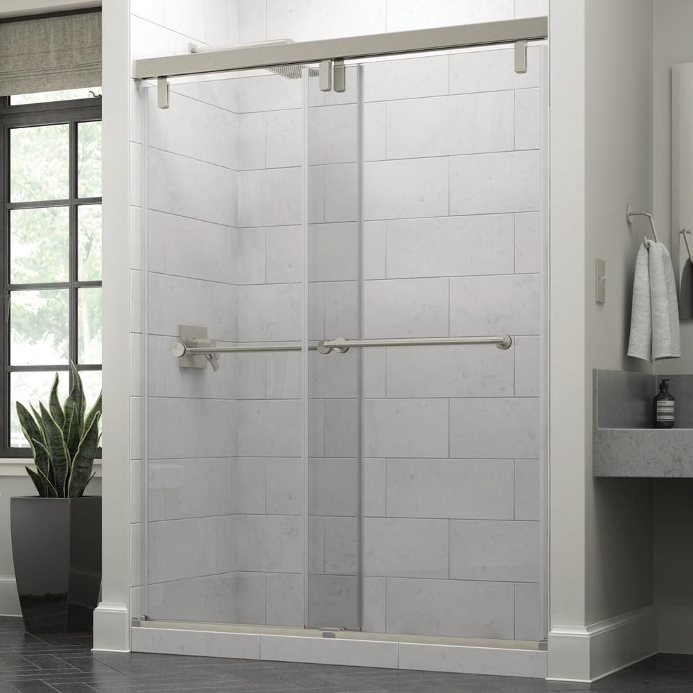 Delta Lyndall 60 X 71 1 2 In Frameless Mod Soft Close Sliding Shower Door In Nickel With 3 8 In 10mm Clear Glass Sd3442273 Boas Ideias Ideias