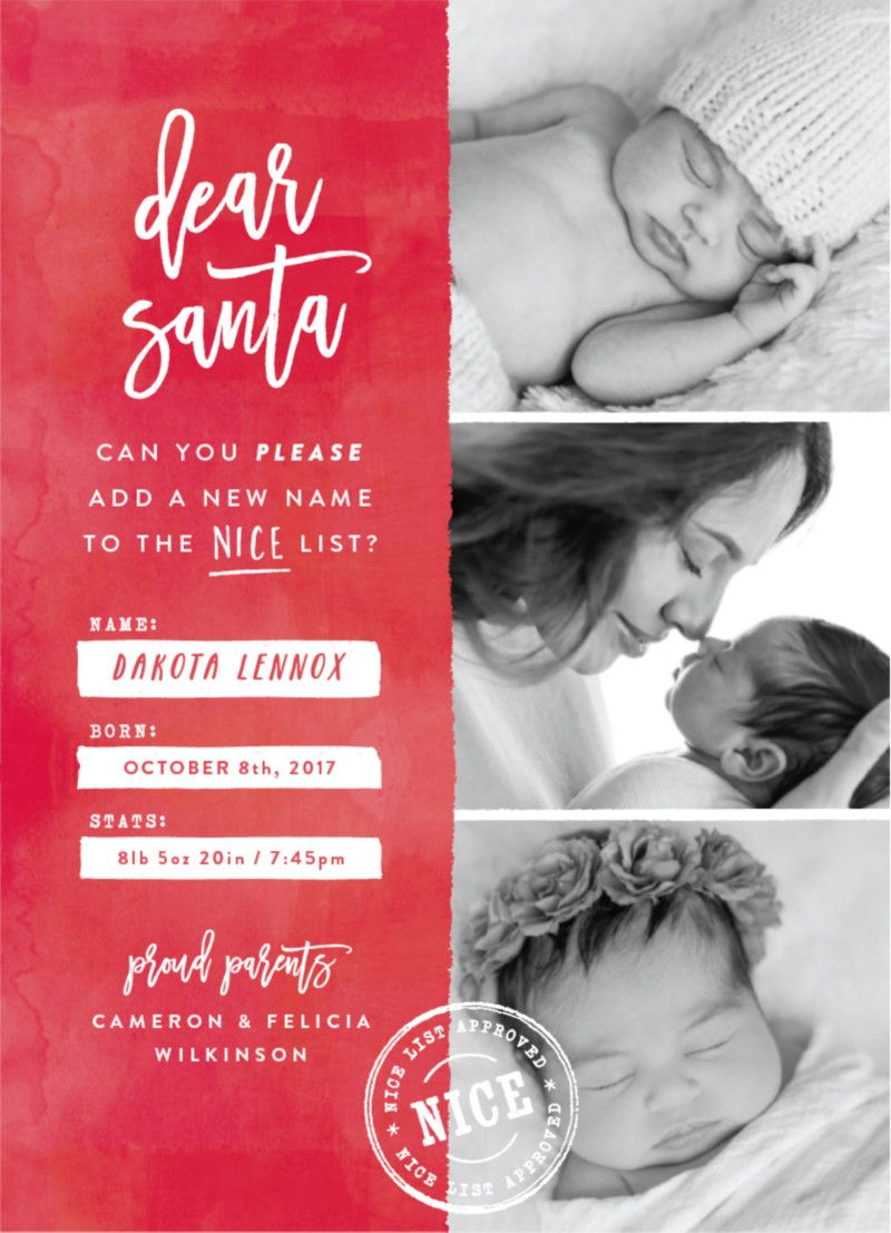 Holiday birth announcement photo card. \