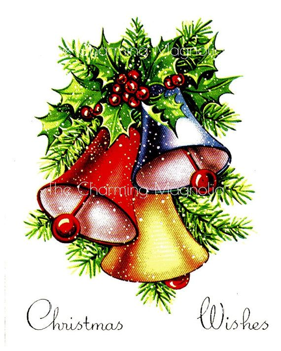 Beautiful Vintage Christmas Postcard Of Three Christmas