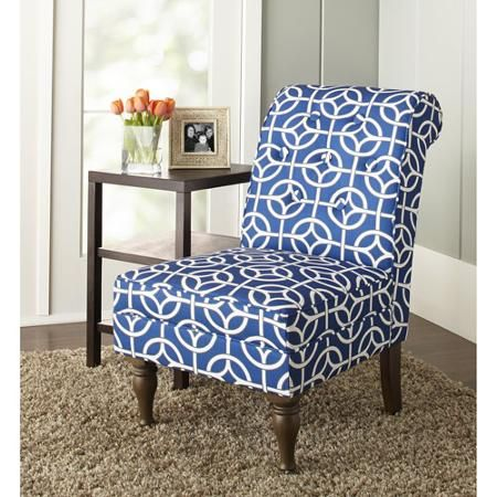 10 Spring Street Preston Trellis Chair Blue Walmart Com Armless Chair Living Room Chevron Accent Chairs Accent Chairs