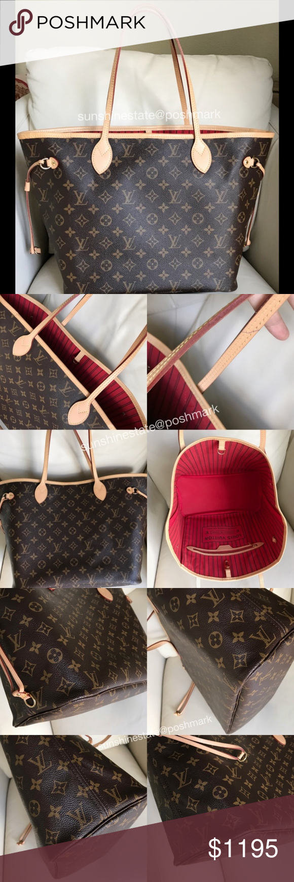 Louis Vuitton Neverfull MM Monogram bag red lining Authentic LV Neverfull  monogram MM Tote bag with red lining (Cherry)! Lightly used as pictured  strap ... 902e9ab4da
