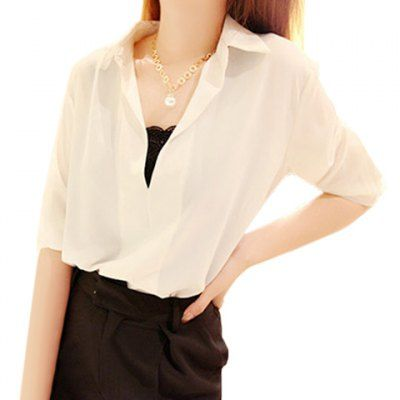 Plus Size V-Neck 3/4 Sleeve Women's Chiffon Blouse