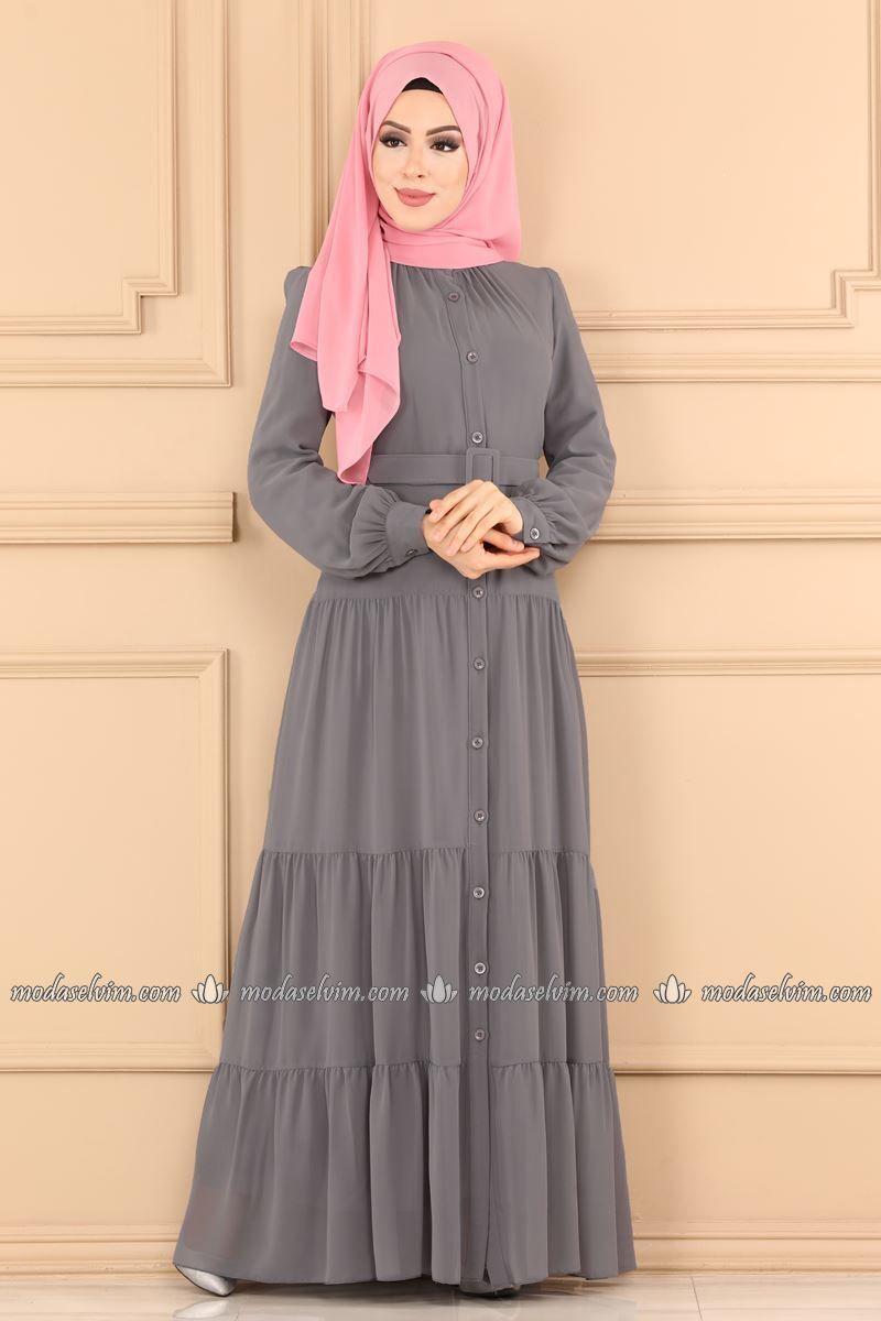 Kemerli Tesettur Elbise 2049ab368 Gri Moda Selvim In 2020 Dresses Maxi Dress Hijab Dress