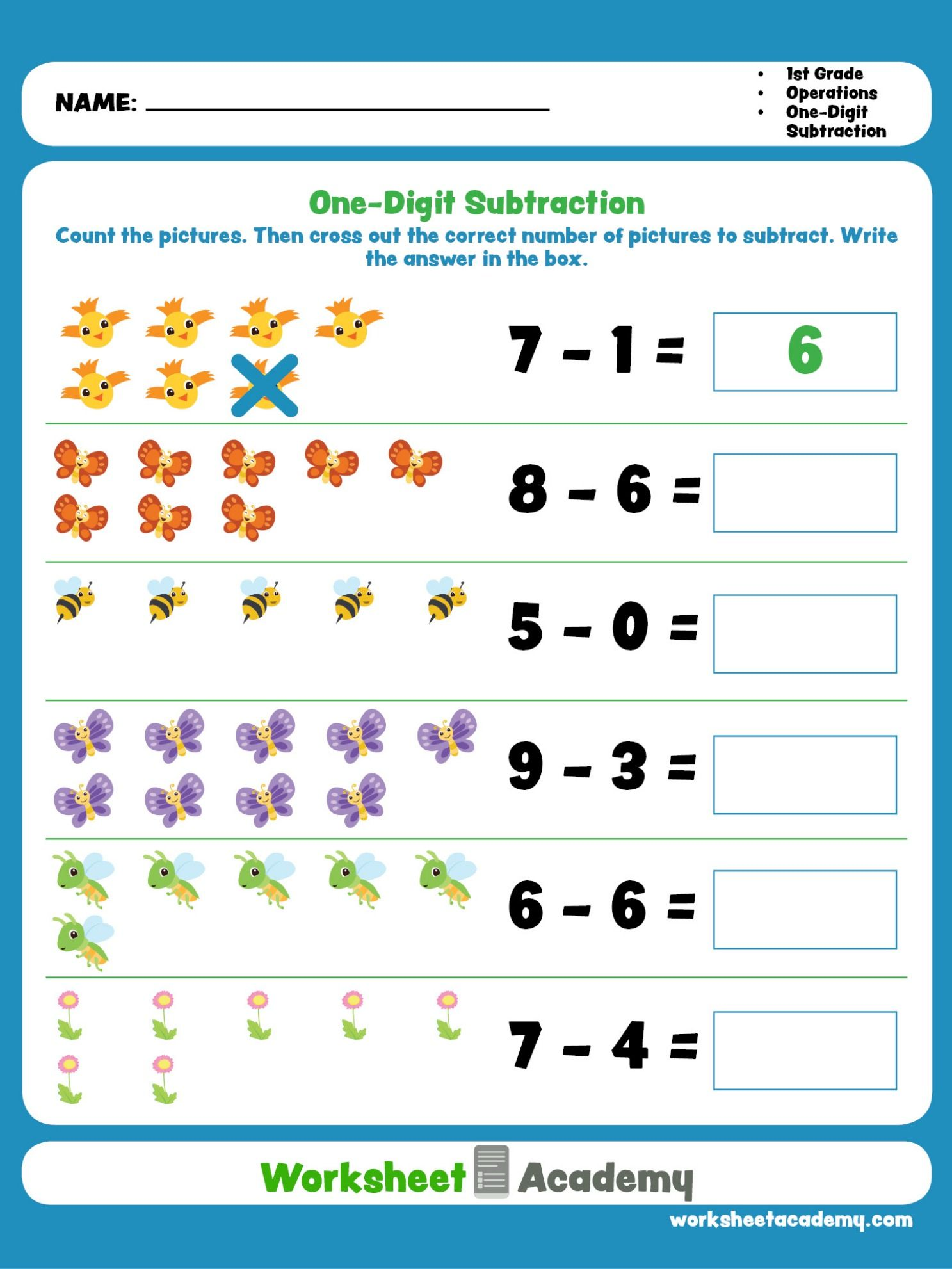 Help your student master beginning subtraction. First