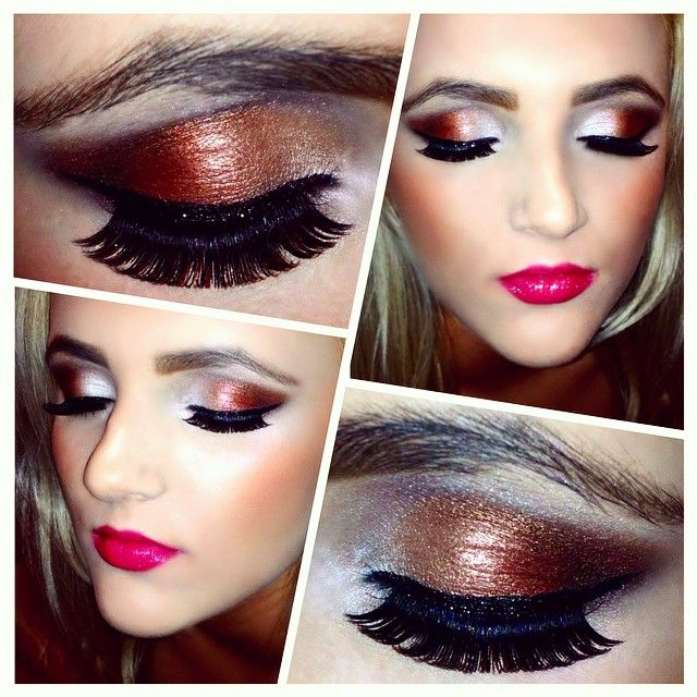 Love creating a dark brown/bronzed eye and contrasting with raspberry coloured lips. <3