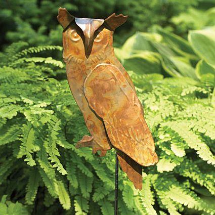 Copper Garden Sculpture | Sculpture Garden Stake, Owl Garden Sculptures,  Flamed Copper Metal Art