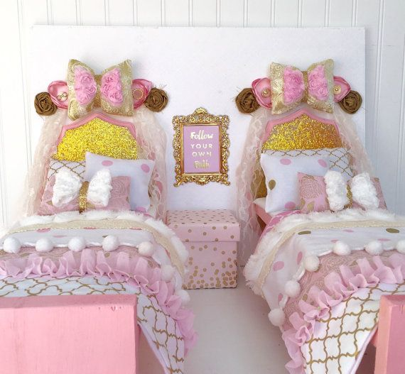 American Girl Doll Bedroom: Two Beds For 18 Inch Doll Bedroom Set, 18 Inch Doll Bed