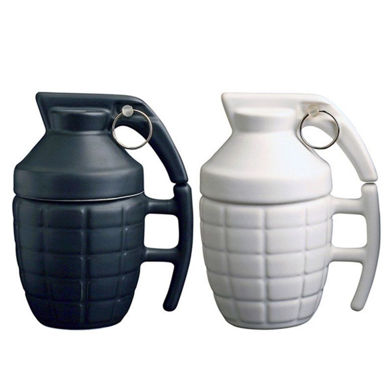 Hot Creative 3D Grenade Mug Ceramic Cup With Lid Coffee Cup Best Gift 280ml