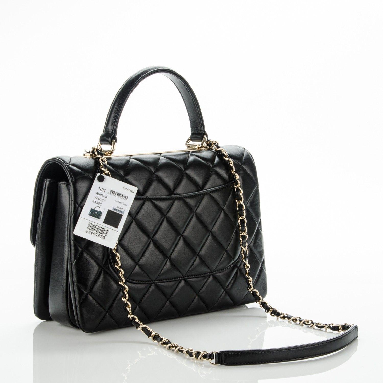 ccf7c0aba3a2 CHANEL Lambskin Quilted Medium Trendy CC Flap Dual Handle Bag Black 176432