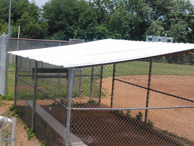 This Baseball Dugout Roof Hits A Home Run When It Comes To Sturdiness And Reliability Repin If Your Little Leaguer Cou Baseball Dugout Softball Dugout Dugout