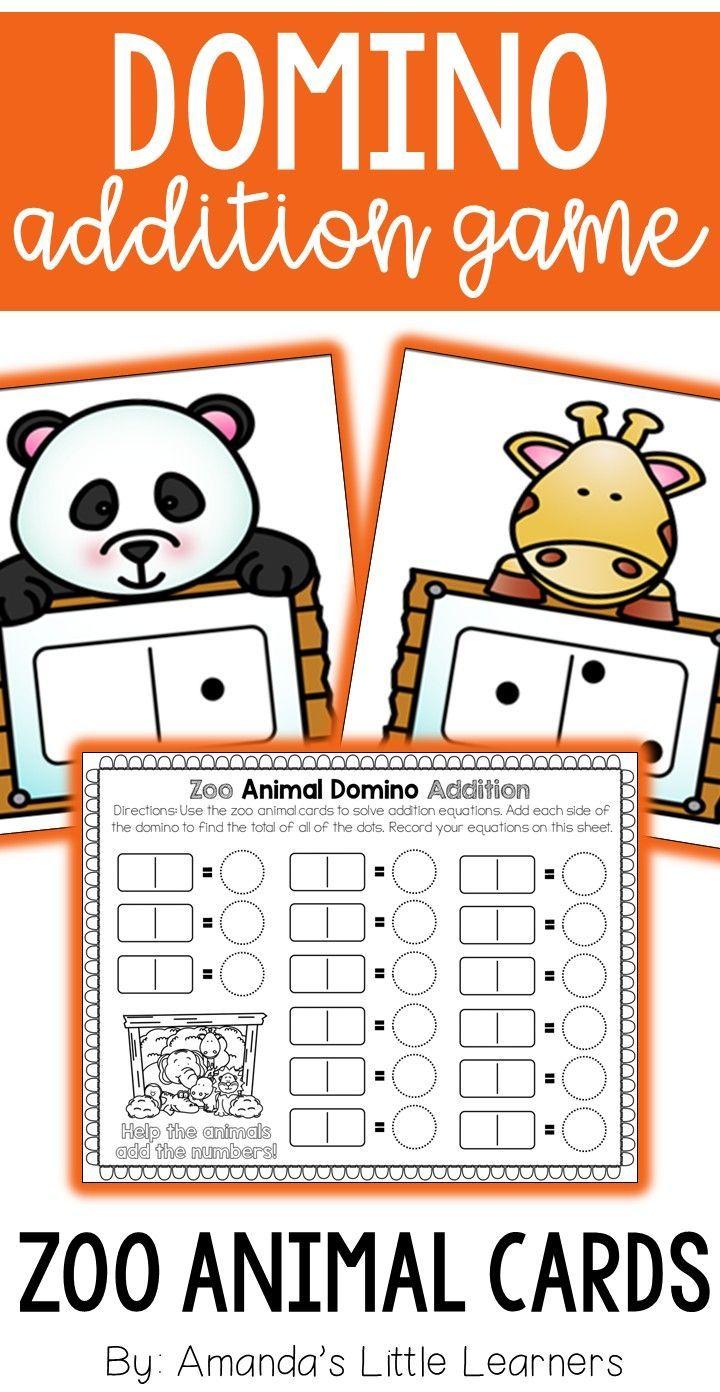 Subitizing Addition Game - Zoo Animals | Equation, Worksheets and Math