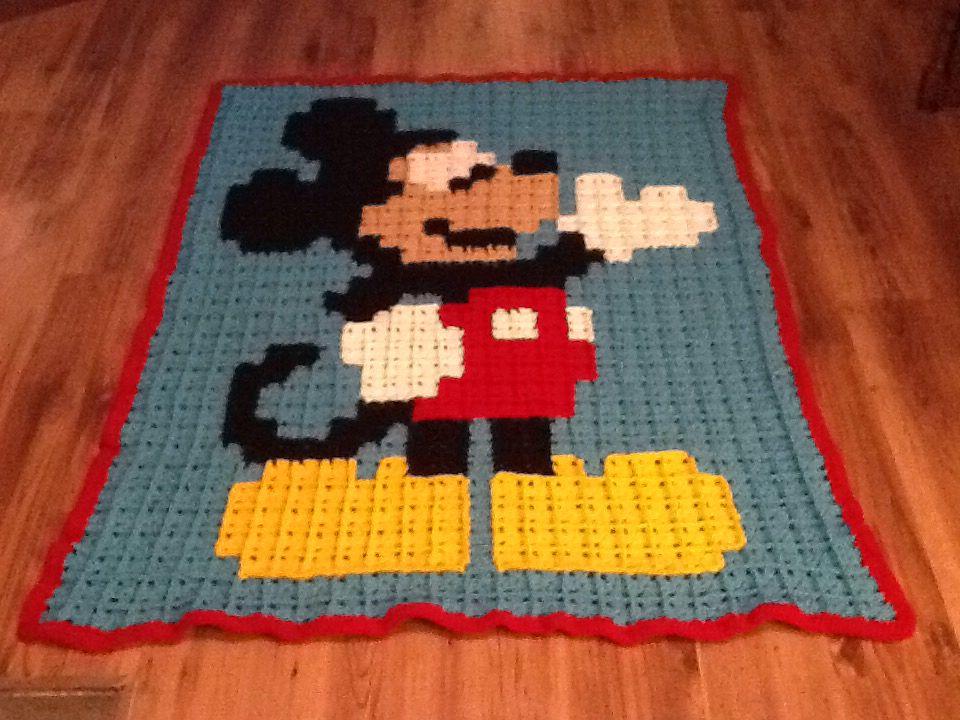 Fine Häkeln Mickey Maus Muster Crest - Decke Stricken Muster ...