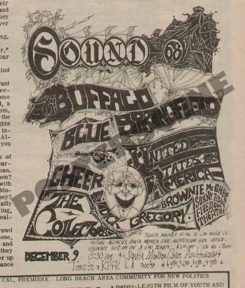 Original newspaper concert ad for Buffalo Springfield and Blue Cheer - copy birth certificate long beach