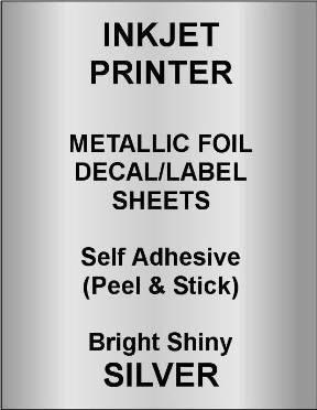 INKJET PRINTER Gold or Silver Foil Decal Paper  Shiny