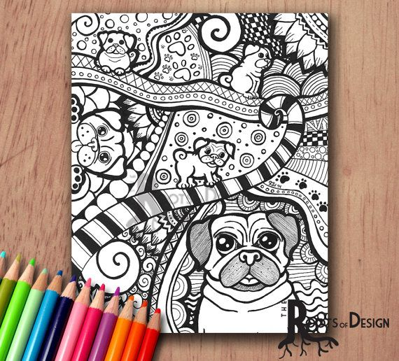 Instant Download Coloring Page Pug Dog Art Print Zentangle Inspired Doodle Art Printable Dog Print Art Doodle Art Toucan Art