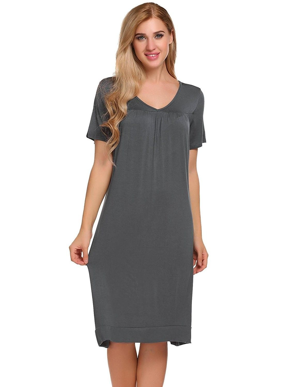 Women s Sleepwear Cotton Sleep Shirt V neck Short Sleeve Nightgown S ... c8c7c4b05