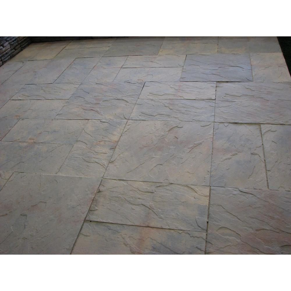 Nantucket Pavers Patio On A Pallet 18 In. X 18 In. Concrete Tan Variegated  Traditional Yorkstone Paver (pallet Of 64 Pieces)