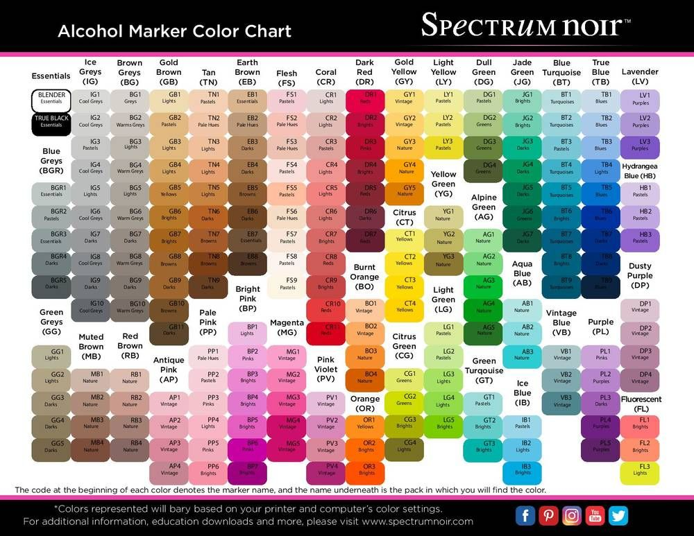 Free printable spectrum noir color charts cards to make