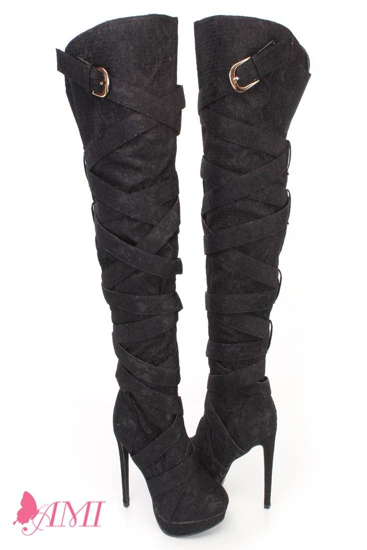 e1e91f0e89a0 These sexy and stylish boots feature a mesh fabric upper with a wrap around  strappy design