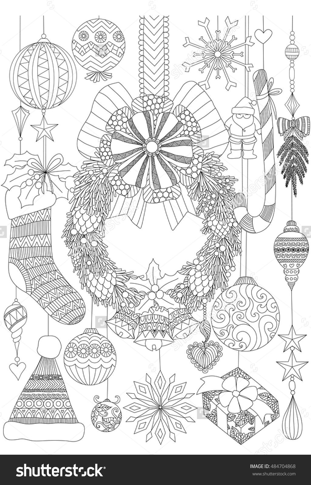 stock-vector-doodles-about-christmas-decorative-stuffs-for-adult ...