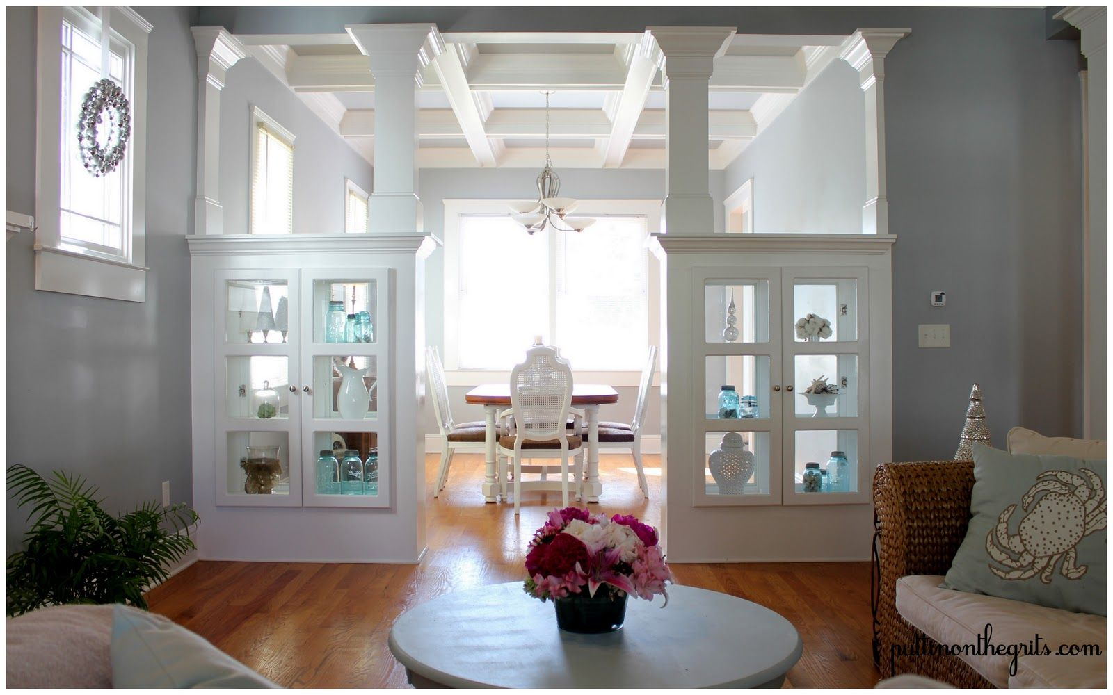 Living Dining Room Cabinets: Another View Of Room Dividing Glass Cabs