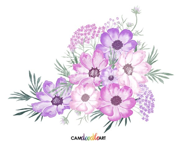 Pink And Purple Watercolor Flowers Clipart Set Hand Painted Flowers Watercolor Bouquets Scrapbooking Floral Painting Flower Art Hand Painted Flowers